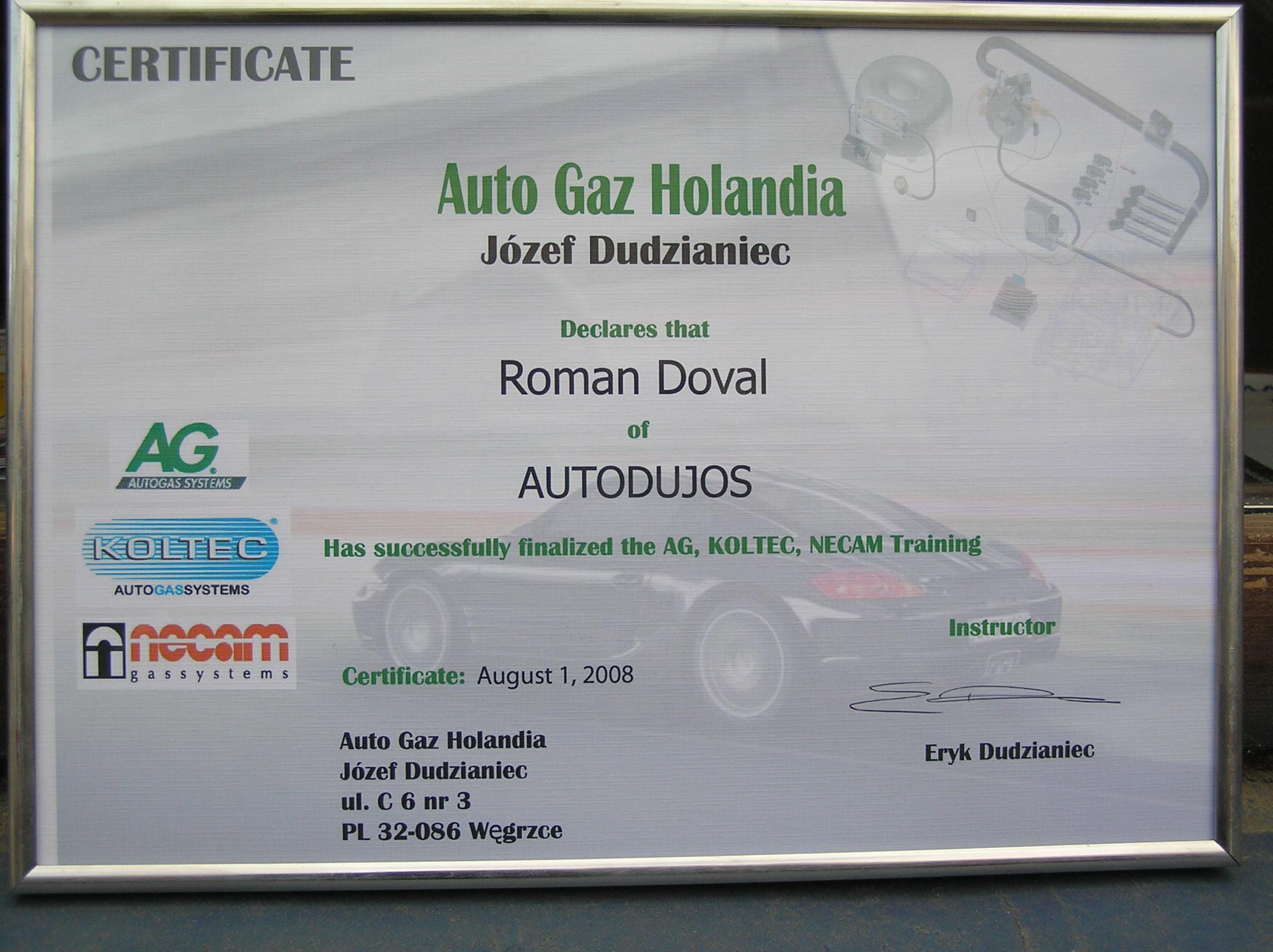 sertifikatas - auto gaz holandia