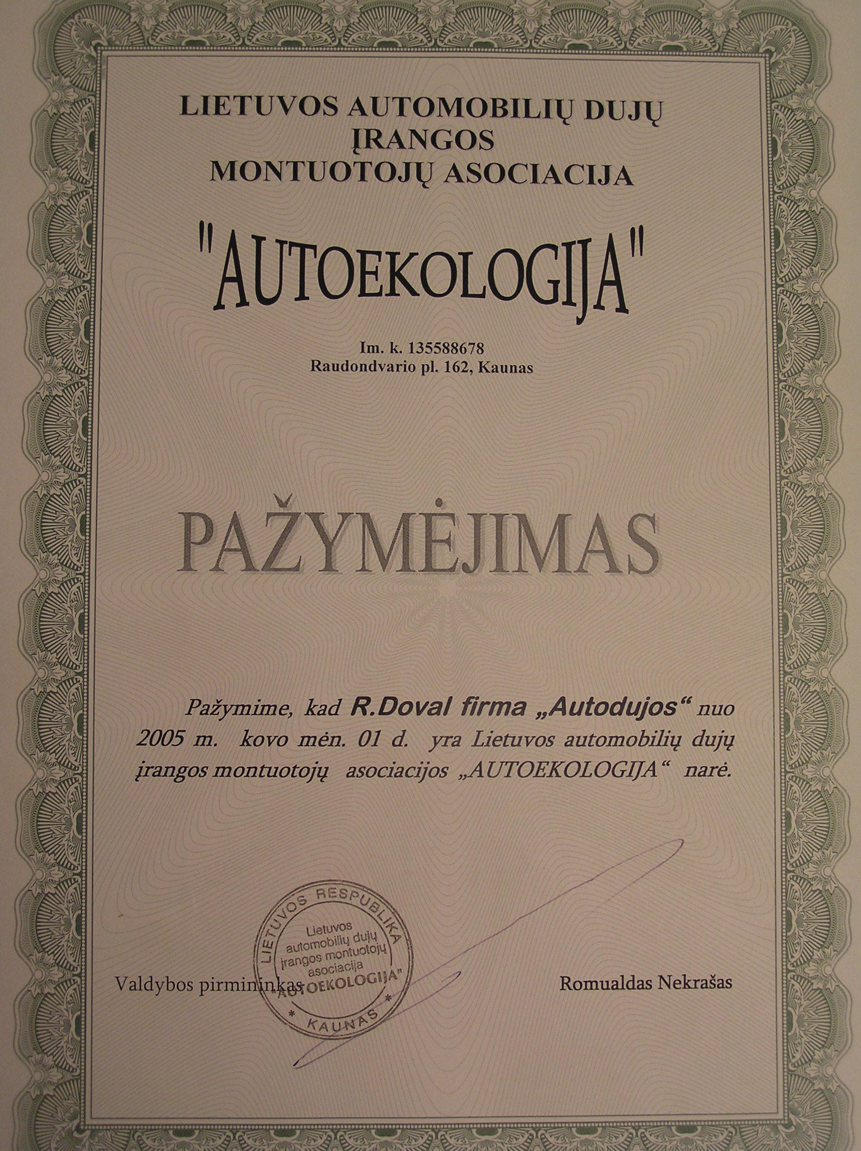 Autoekologija pažymėjimas